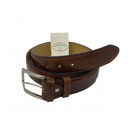 Leather Belt - Brown - 4 cm