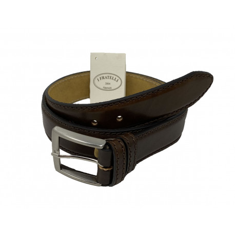Leather Belt - Dark Brown - 4 cm