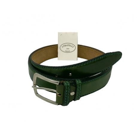 Leather Belt - Green - 4 cm