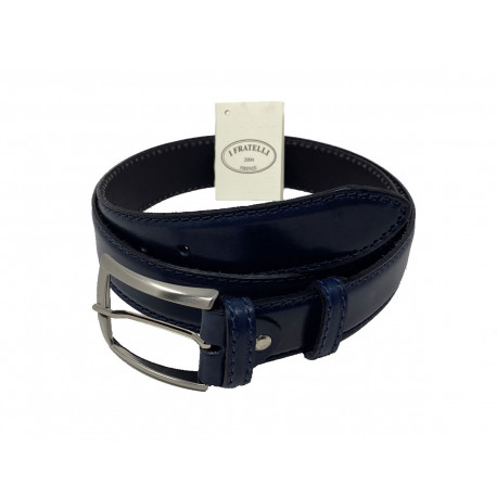 Leather Belt - Blue - 4 cm