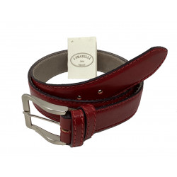 Leather Belt - Red - 4 cm