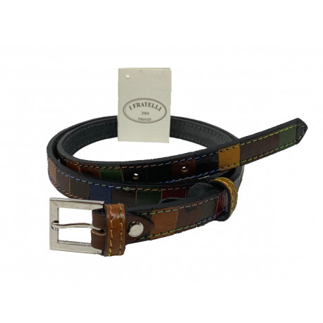 Leather Belt - Multicolor - 2 cm